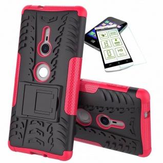 Für Sony Xperia XZ2 Hybrid Case 2 teilig Pink Hülle + 0, 3 mm H9 Glas Tasche Neu