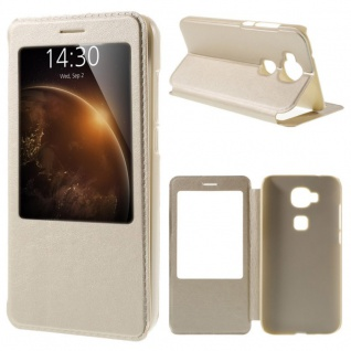 Booktasche Flip Window Gold für Huawei Honor 8 Tasche Cover Hülle Case Etui Neu