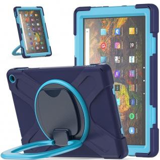 Für Amazon Kindle Fire HD 10 / 10 Plus 2021 Hybrid Outdoor Blau Tasche Hülle Neu