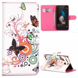 Schutzhülle Muster 2 für Huawei P9 Bookcover Tasche Case Hülle Wallet Etui Neu