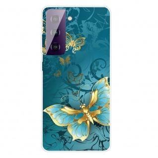 Für Samsung Galaxy S21 Silikon TPU Gold Butterfly Handy Hülle