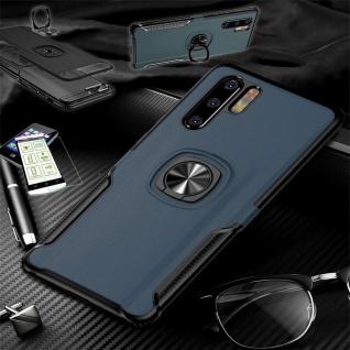 Für Huawei P30 Lite Hybrid Magnet Metall Ring Tasche Blau + H9 Glas Etuis Hülle