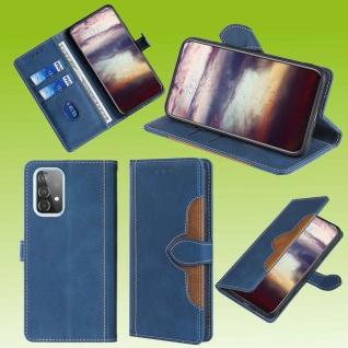Für Samsung Galaxy A52 5G Design Handy Tasche Blau Etuis Kunst-Leder Hülle Case