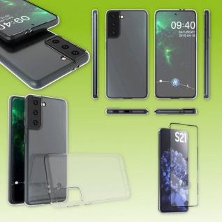 Für Samsung Galaxy S21 Plus Silikon Transparent + 4D H9 Glas Handy Tasche Etuis