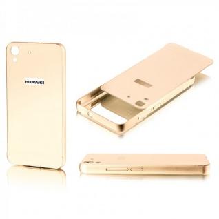Alu Bumper 2 teilig mit Abdeckung Gold für Huawei Y6 Tasche Hülle Case Cover Neu
