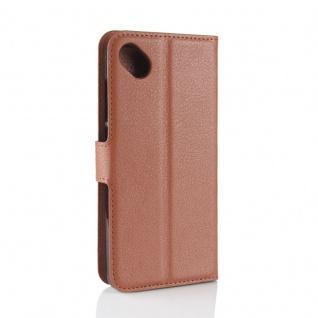 Tasche Wallet Premium Braun für Wiko Sunny 2 Plus Hülle Case Cover Etui Schutz - Vorschau 2