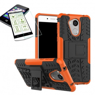 Hybrid Case Tasche Outdoor 2teilig Orange für Huawei Honor 6C Hülle + Hart Glas