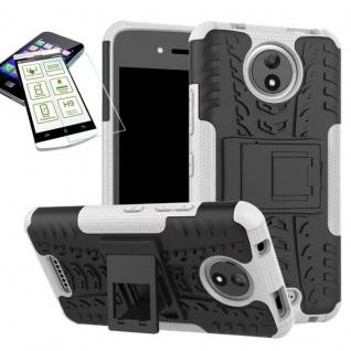 Hybrid Case Tasche 2teilig Weiß für Motorola Moto C Plus + H9 Hartglas Hülle
