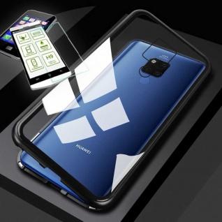 Für Huawei Mate 20X Magnet Glas Tasche Schwarz / Transparent + 0, 26 H9 Glas Etui