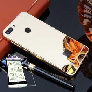 Alu Bumper 2 teilig Gold + 0, 3 H9 Glas für Huawei P Smart Tasche Hülle Case Neu