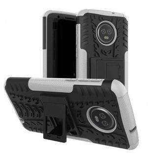 Für Motorola Moto G6 Plus Hybrid Case 2teilig Outdoor Weiß Etui Tasche Hülle Neu