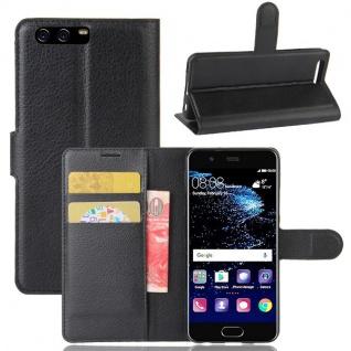 Tasche Wallet Premium Schwarz für Huawei P10 Schutz Hülle Case Cover Etui Neu