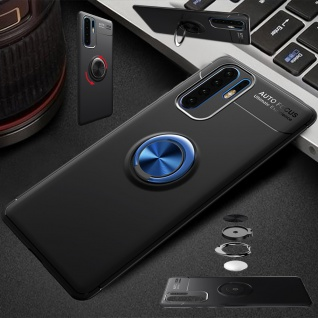 Für Huawei P30 Pro Magnet Metall Ring ultra dünn Schwarz Blau Tasche Etuis Hülle