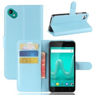 Tasche Wallet Premium Blau für Wiko Sunny 2 Plus Hülle Case Cover Etui Schutz