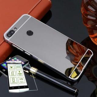 Alu Bumper 2 teilig Schwarz + 0, 3 H9 Glas für Huawei P Smart Tasche Hülle Case