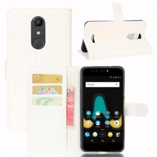 Tasche Wallet Premium Weiß für Wiko Upulse Hülle Case Cover Etui Schutz Zubehör