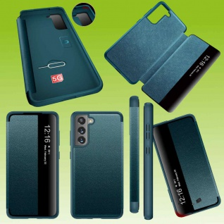 Für Samsung Galaxy S21 FE View Handy Tasche Grün Etuis Kunst-Leder Hülle Case