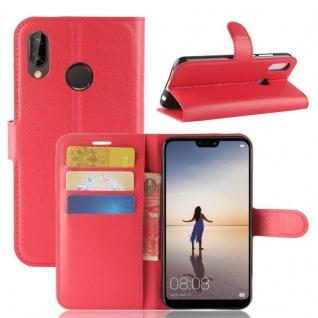 Tasche Wallet Premium Rot für Huawei P20 Lite Hülle Case Cover Schutz Schale Neu