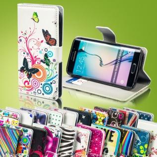 Bookcover Wallet Muster für Smartphones Tasche Hülle Case Etui Cover Schutz Neu