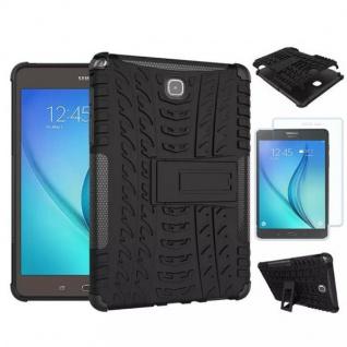 Hybrid Outdoor Tasche Schwarz für Samsung Galaxy Tab A 9.7 T550 + 0.4 Hartglas