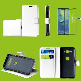 Für Huawei P30 Pro Tasche Wallet Weiß Hülle Etuis + H9 4D Curved Hart Glas Case