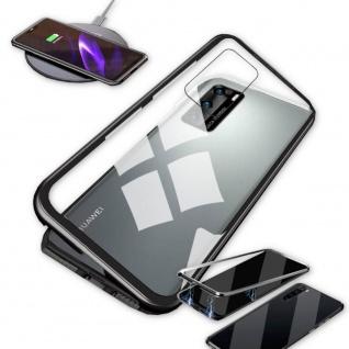 Für Huawei P40 Magnet Metall Glas Schwarz Handy Tasche Hülle Case Cover Etuis
