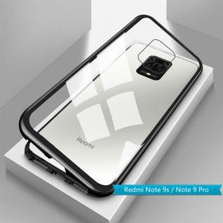 Für Xiaomi Redmi Note 9S Magnet Metall Glas Schwarz Handy Tasche Hülle Case Etui
