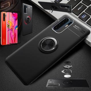 Für Huawei P30 Pro Magnet Metall Ring Dünn Schwarz Tasche Etuis + 4D Glas Case