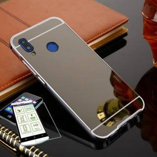 Alu Bumper 2 teilig Schwarz + 0, 3 H9 Glas für Huawei P20 Lite Tasche Hülle Case