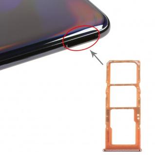Dual Sim Karten Halter für Samsung Galaxy A70 Orange Card Tray Micro SD Ersatz