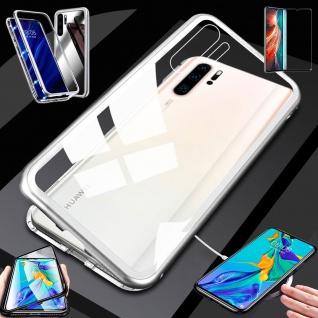Für Huawei P30 Pro Magnet Glas Tasche Silber / Transparent + 0, 3 4D H9 Glas Neu