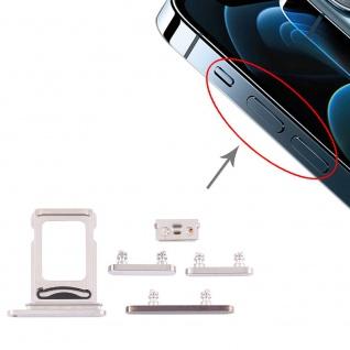 Dual Sim Karten Halter und Power/Lautstärke Button Apple iPhone 12 Pro Max Weiß