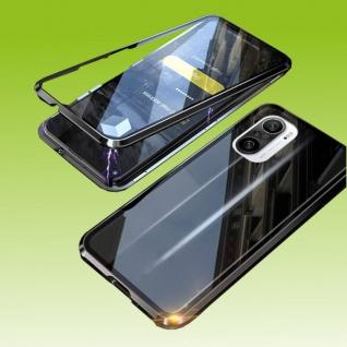 Beidseitige Magnet Bumper Handy Tasche Schwarz für Xiaomi Redmi Note 10 Pro Etui