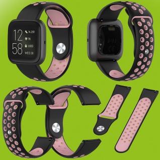 Für Fitbit Versa 2 Kunststoff Silikon Armband für Frauen Größe S Schwarz-Pink