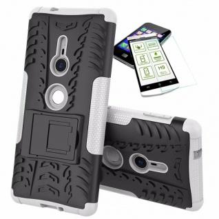 Für Sony Xperia XZ2 Hybrid Case 2 teilig Weiß Hülle + 0, 3 mm H9 Glas Tasche Neu