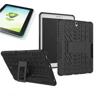 Hybrid Outdoor Tasche Schwarz für Samsung Galaxy Tab S3 9.7 T820 + Hartglas