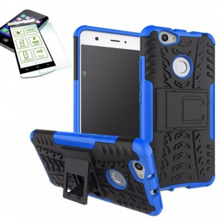 Hybrid Case Tasche Outdoor 2teilig Blau für Huawei Nova + Hartglas Cover Neu