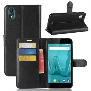 Tasche Wallet Premium Schwarz für Wiko Lenny 4 Plus Hülle Case Cover Etui Schutz