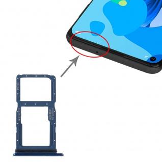 Für Huawei P20 Lite 2019 Dual SIM Karten Halter + Micro SD Blau Ersatzteil