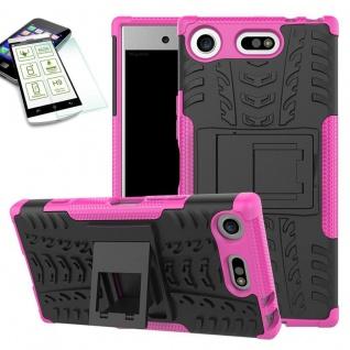 Hybrid Case 2 teilig Pink für Sony Xperia XZ1 Compact + 0, 3 H9 Hartglas Tasche
