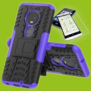 Für Motorola Moto G7 / G7 Plus Hybrid Tasche Etui Outdoor 2teilig Lila + H9 Glas