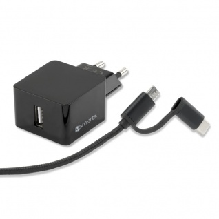 4smarts Netzladegerät VoltPlug 12W mit Micro-USB & USB Typ-C-Kabel 1, 5m schwarz