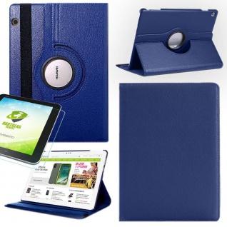 Für Apple iPad Pro 12.9 3. Gen Blau 360 Grad Hülle Tasche Kunstleder + Hart Glas