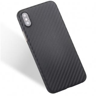 Hardcase Carbone Style Schwarz für Apple iPhone X / XS Tasche Hülle Cover Neu