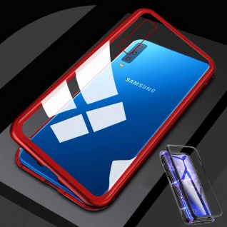 Für Samsung Galaxy A7 A750F Magnet Metall Glas Transparent / Rot Tasche Hülle
