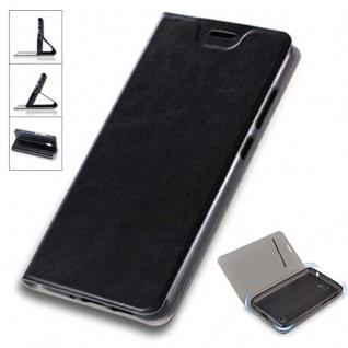 Flip / Smart Cover Schwarz für Huawei P Smart Schutzhülle Etui Tasche Hülle Case