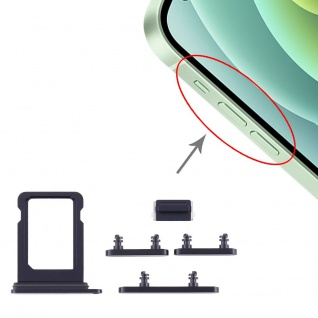 Sim Karten Halter und Power / Lautstärke Button Apple iPhone 12 Mini Schwarz Neu