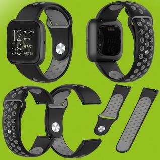 Für Fitbit Versa 2 Kunststoff Silikon Armband für Frauen Größe S Schwarz-Grau