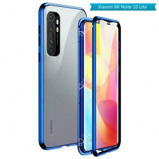 Beidseitige Magnet Glas Bumper Handy Tasche Blau für Xiaomi Mi Note 10 Lite Case