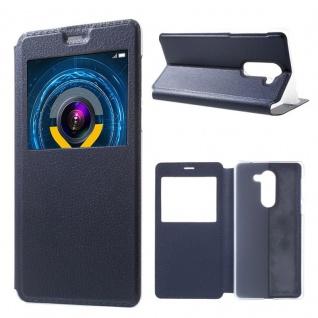 Booktasche Flip Window Blau für Huawei Y6 / Honor 4A Tasche Cover Hülle Case Neu
